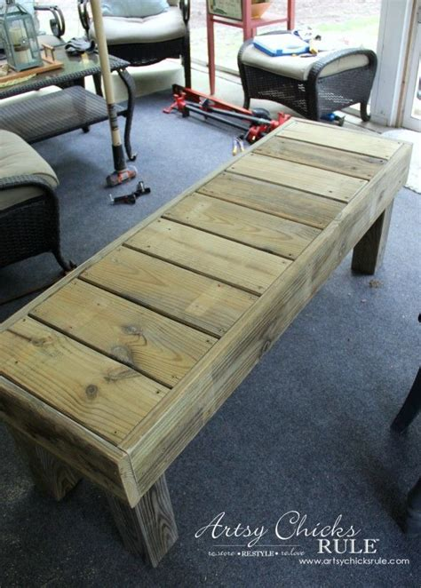 how to make a patio bench simple diy outdoor bench thrifty project recycled wood