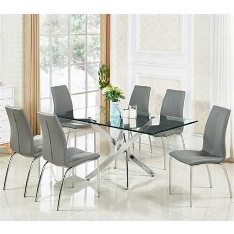 Daytona Glass Dining Table In Clear With 6 Opal Grey Chairs Clear Glass Dining Table And 6 Chairs
