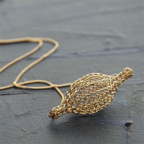 crocheted gold filled pod necklace unique