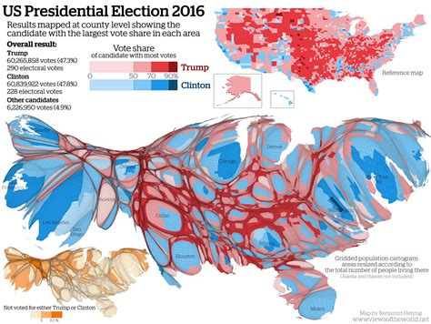 map of us electoral votes u s presidential election 2016 cartogram maps