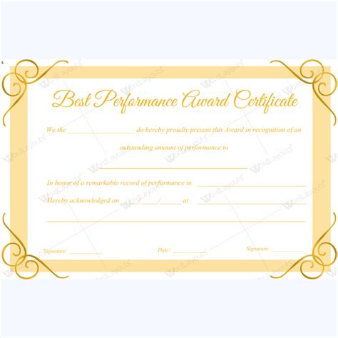 best performance award certificate template for employee