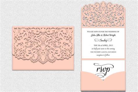 Fancy Folding Card Invitation Template by Tri Fold Lace Pocket Envelope Tri Fold Design Bundles