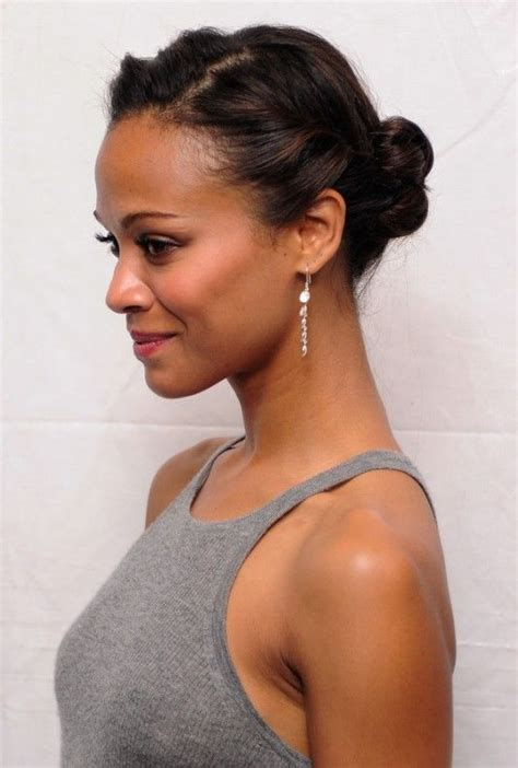 partial hair pin up styles for african americans african american daily hairstyles zoe saldana cute