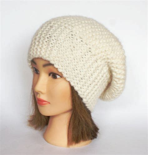 white knitted beanie hat beret style slouch hat white slouchy from johanna crafts