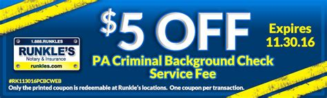 Criminal Record Check Fee Special Offers Runkle S Notary Tag Title