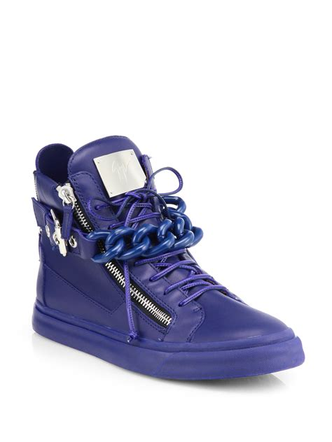 giuseppe zanotti blue sneakers giuseppe zanotti tonal chain sneakers in blue for lyst