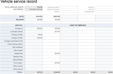 car service record template vehicle service record for free formxls