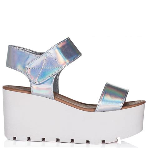 buy sun wedge heel platform flatform sandal shoes silver