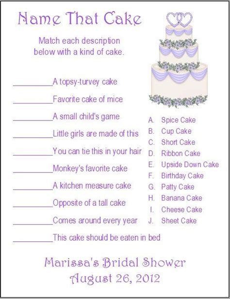 easy printable bridal shower games 24 personalized name that cake bridal shower game names