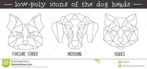 front view of dog head triangular icon set stock vector