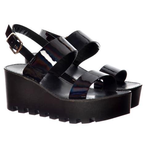 Sandal Wanita Wedges Jnr Black Silver onlineshoe cleated sole summer platform wedge sandals black patent silver hologram