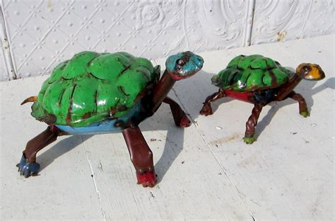large recycled metal colorful turtle yard decor