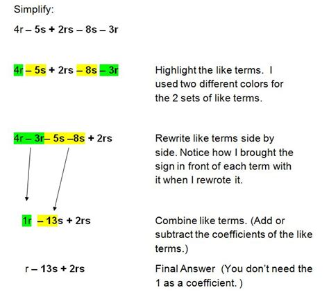 Algebra 1 Simplifying Expressions Worksheet by Simplifying Algebraic Expressions And Combining Like Terms