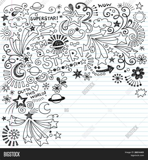 doodle on paper superstar scribble inky vector photo bigstock