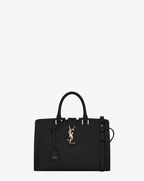 saint laurent small monogram cabas bag  black leather