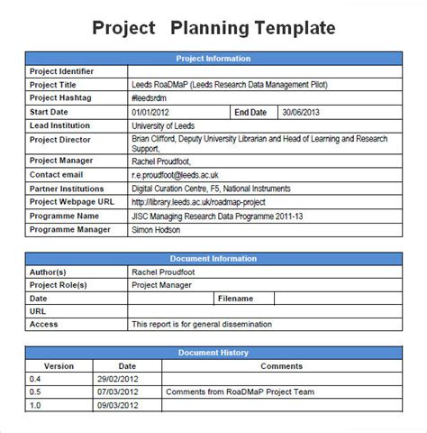 exle of a project plan template project planning template 5 free for word