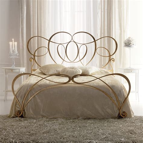 italian iron gold leaf swirls bed