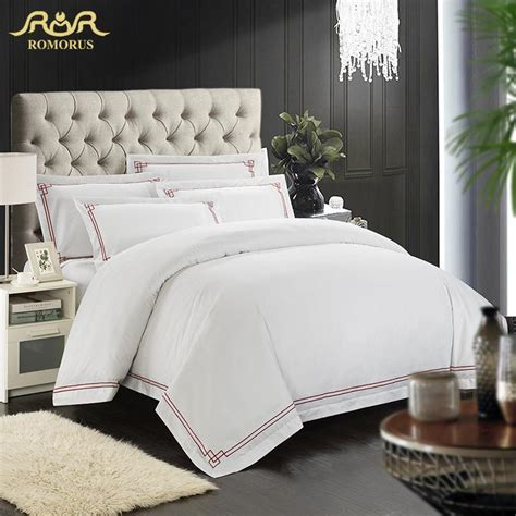 Romorus designer 100 cotton embroidered hotel bedding set white king queen size tribute silk
