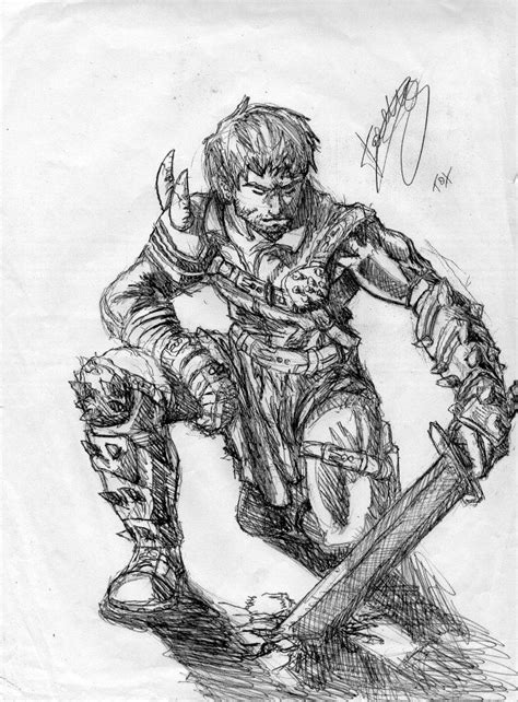 kneeling warrior by tomygreen on deviantart