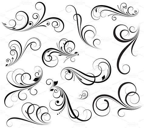 swirls vectors illustrations on creative market