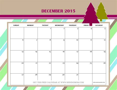 printable monthly calendar for december 2015 december 2015 calendars christmas themed designs