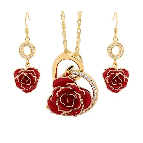 rose themed jewellery red matching pendant and earring set heart theme 24k gold