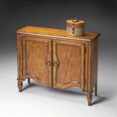 vintage oak finish console cabinet