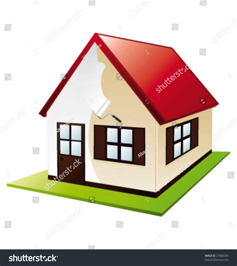 find a house painter painting a little house vector illustration 27808339 shutterstock