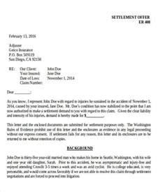 Settlement Offer Letter Exle Demand Letter Exles