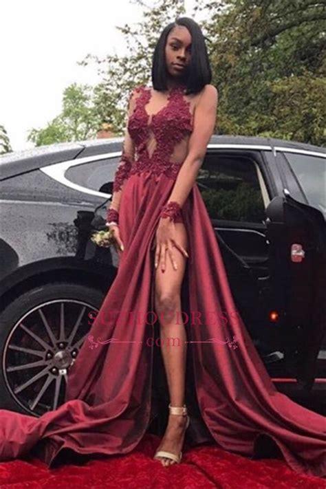 Sleeve Slit Side Dress burgundy a line sleeves prom dresses 2018 appliques
