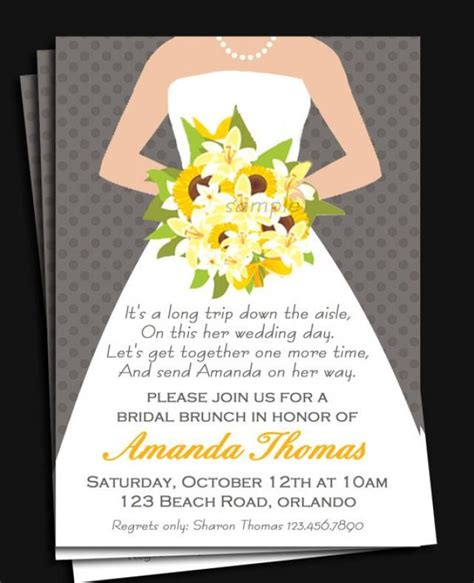 bridal shower for the only bridal gown invitation printable or printed with free shipping bridal shower luncheon or