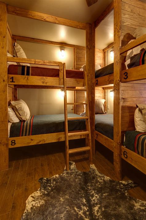 Built In Cabin Beds by This Rustic Lodge Style Bunk Room Boasts A Slew Of Built