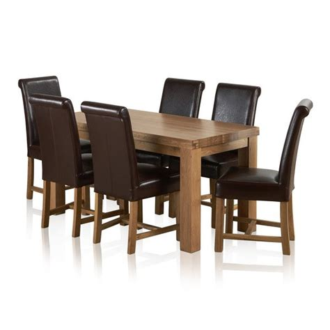 solid oak dining table 6 chairs fresco 6ft solid oak dining table 6 leather chairs