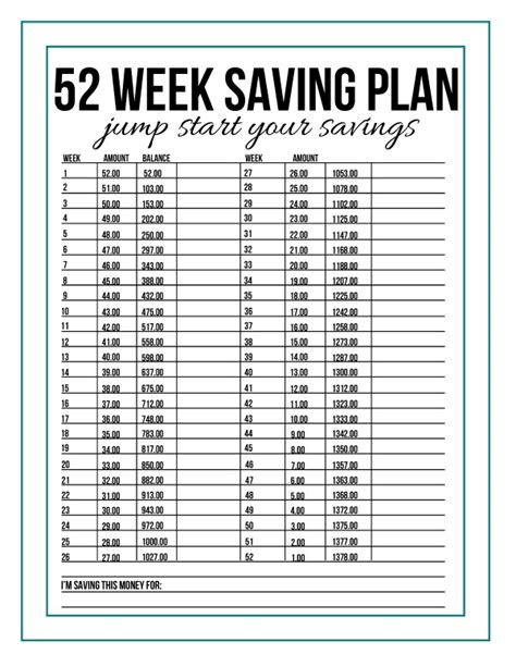 savings planner template 52 week savings plan printable for 2016 calendar
