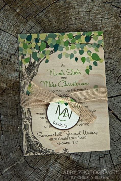 Nature Wedding Invitations real wood nature inspired wedding invitation featured in