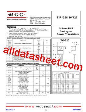 transistor tip127 datasheet tip127 bp datasheet pdf micro commercial components
