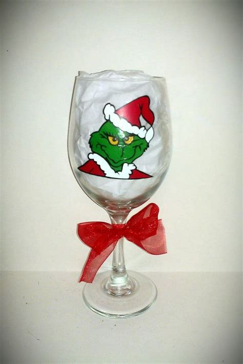 cartoon wine glass cheers the grinch hand painted glassware by kraftymamaboutique