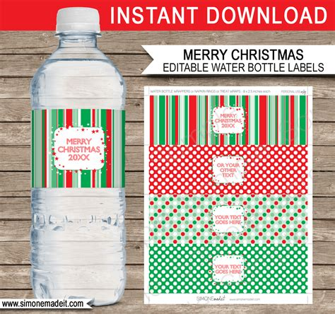 Printable Christmas Water Bottle Labels Template Editable Text Diy Water Bottle Label Template
