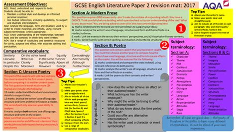 gcse literature paper 2 revision mat by s malloy