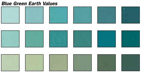 shades of green blue blue green earth values pastel set 18 colors