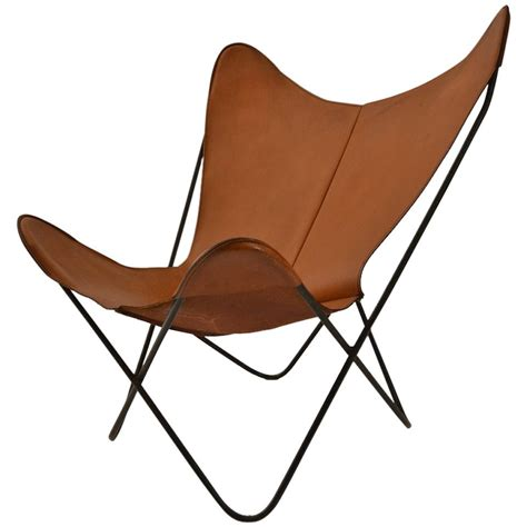 Hardoy tan leather butterfly chair at 1stdibs