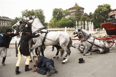 cavalli e carrozze carrozza a cavalli investe due pedoni corriere it
