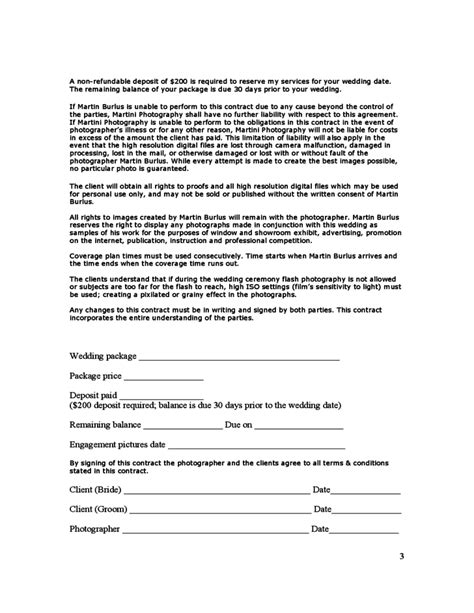 photography terms and conditions template wedding photography contract free
