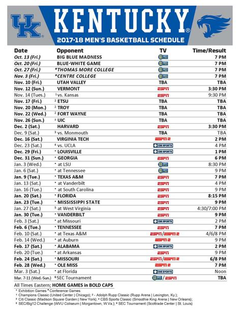 uk basketball schedule television kentucky basketball schedule 2017 18 tv times and
