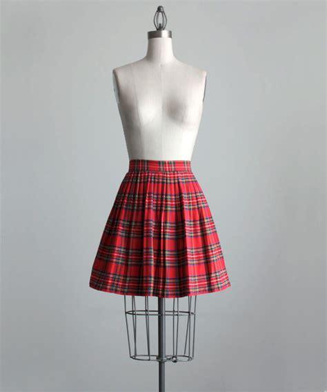 plaid skirt 1990s vintage pleated plaid mini