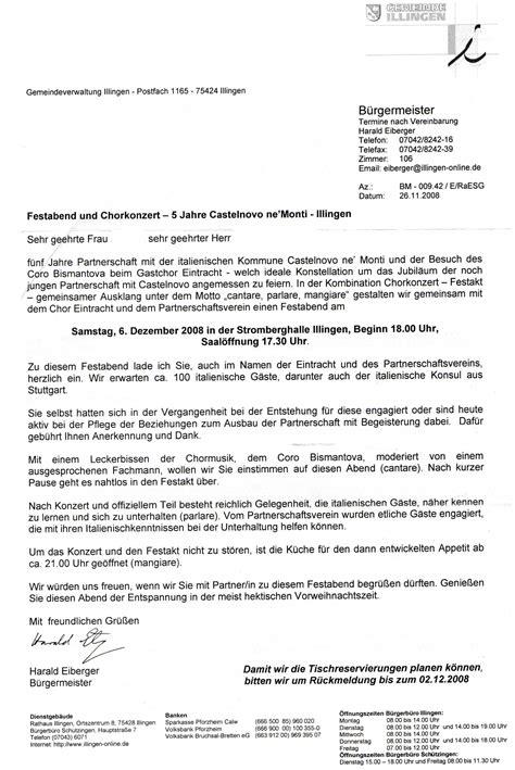 Muster Einladung Besichtigung Chronik Staedtepartnerschaftsverein Illingen