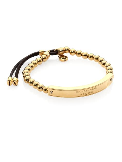Michael kors Heritage Plaque Logo Beaded Leather Bracelet/goldtone in Metallic   Lyst