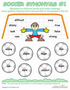 soccer synonyms 1 worksheet education com