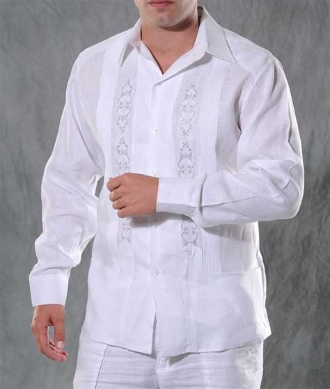 MENS WEDDING GUALLAVERAS   Guayaberas Cubanas White
