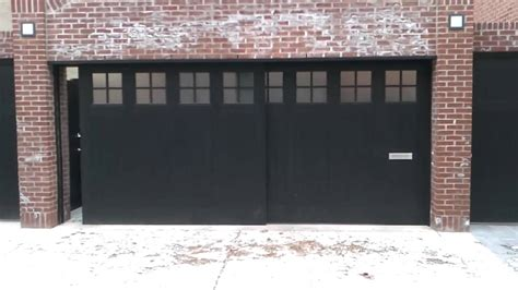 Sliding Garage Door Black Side Sliding Garage Doors On Bricked Wall House Side Sliding Garage Doors Decorations